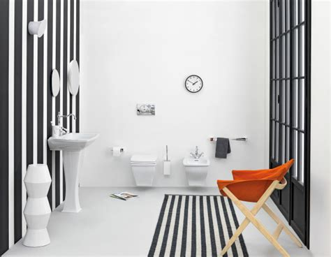 Orange And Black Bathroom deco rayures noir blanche salle bain