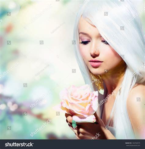 Beautiful Spring Girl Rose Flower Fantasy Stock Photo