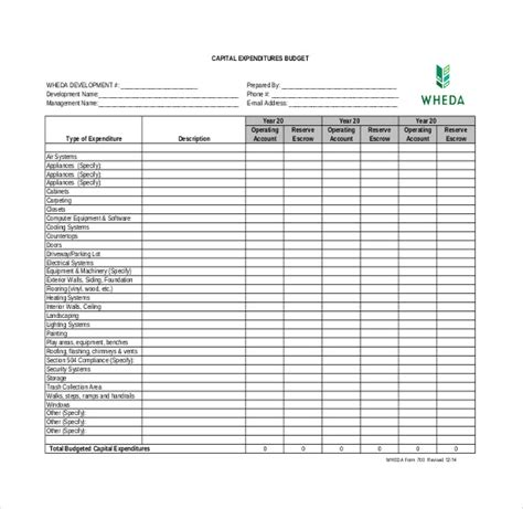 expenditure budget templates word  excel
