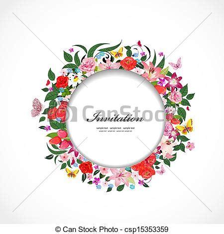 beau cadre rond conception fleurs ton clipart vectoriel rechercher illustration dessins