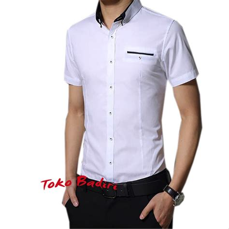jual baju kemeja pria lengan pendek slimfit putih polos kemeja lengan pendek terbaru harga