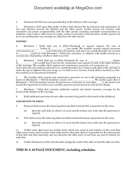 ontario separation agreement template canada separation agreement forms and business templates megadox