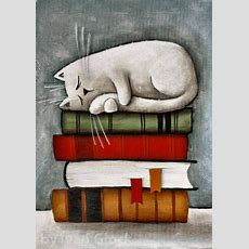 Cat On The Books, Cat Drawing, Cute Cat,cat Cartoon, Reading Room Decor In 2019  Ivan Glock