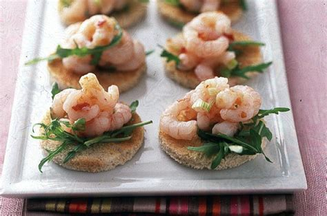 healthy canapes dinner chilli prawn toasts recipe goodtoknow