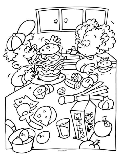 Kleurplaat Eten En Drinken by Kleurplaat Gezonde Groenteburger Kleurplaten Nl
