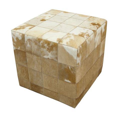 Cowhide Cube Ottoman - cowhide cube pouf ottoman patchwork beige white fur home