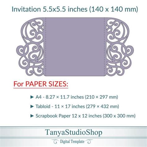 Gate fold 5 5 x 5 5'' invitation template SVG ai Etsy in
