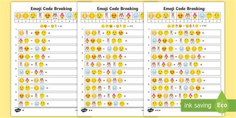 emoji maths code breaking worksheets ks twinkl