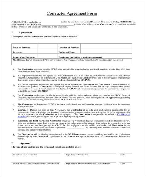 general agreement sample forms word  pages