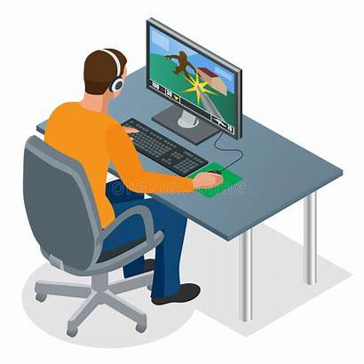 Pc Gamer Playing Clipart Gaming Computer Illustration