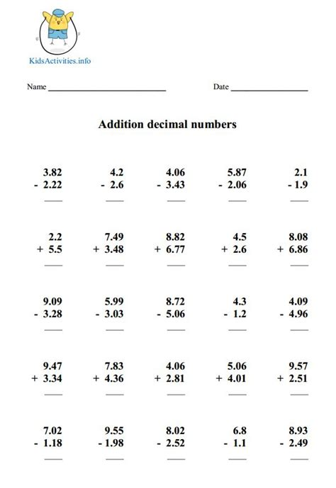Adding And Subtracting Decimals Worksheets 5th Grade Worksheets For All  Download And Share