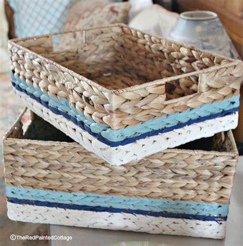painting wicker baskets with a paintbrush the painted cottage