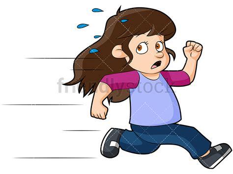 Scared Little Girl Running Away Cartoon Vector Clipart