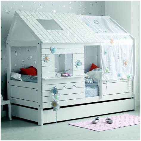 cabane de chambre lit cabane fille 90x200 blanc