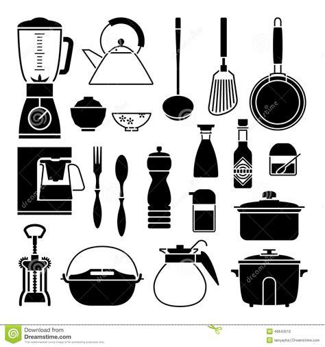 outil cuisine silhouette de vecteur de collection d 39 outil de cuisine