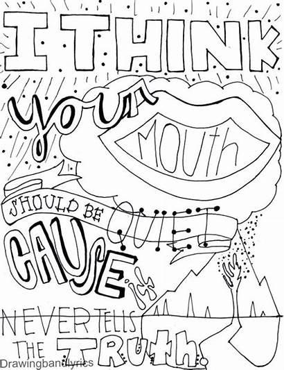 Lyrics Drawings Lyric Band Coloring Pages Adult