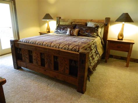 Beautiful Carved Tree King Size Timber Frame Bed At