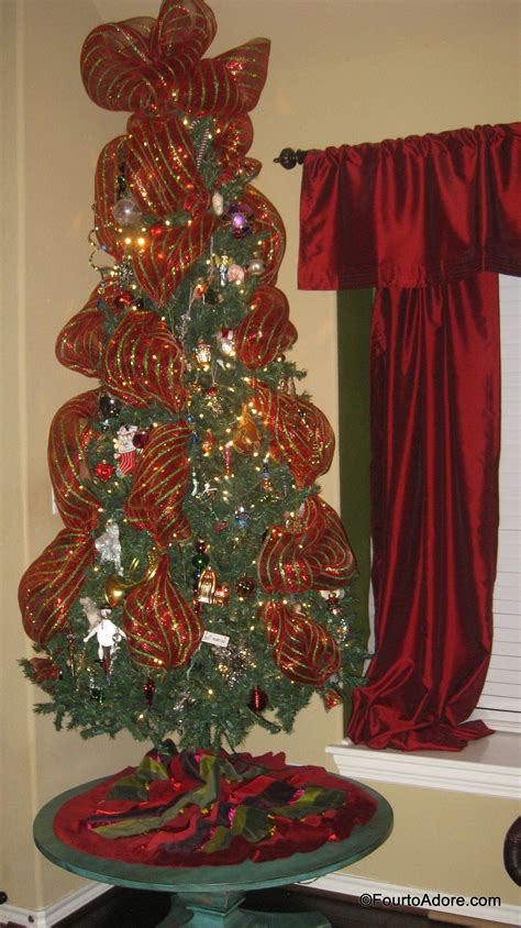 christmas tree decorating  wide mesh ribbon www