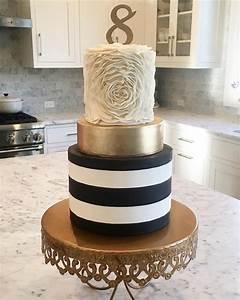 Ruffled Rosette/ Gold/ Black And White Striped Cake ...