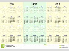 Vector La Plantilla Del Calendario 2016, 2017, 2018