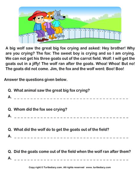 reading comprehension stories worksheet 7 turtle diary