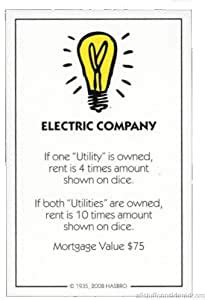 Be the first collect 3 full property sets of different colors, and you'll win the monopoly deal card game. Amazon.com: Genuine Monopoly Classic Electric Company Title Deed (Replacement/Extra): Home ...