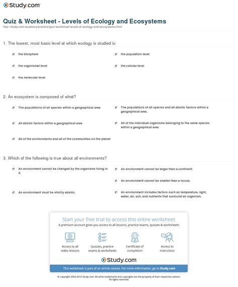 principles of ecology worksheet answers free worksheets