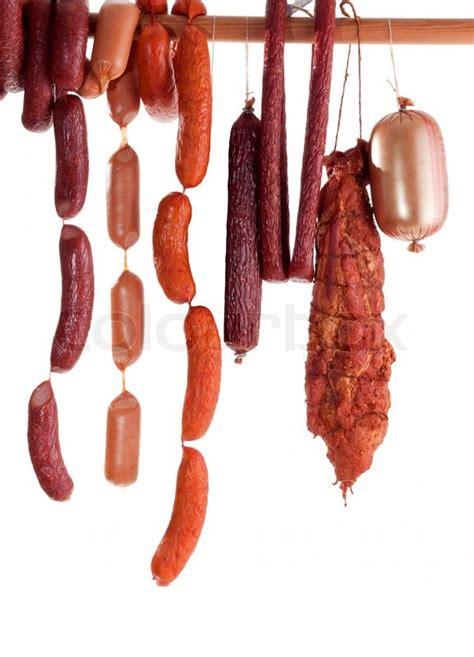 hanging sausage isolated  white stock image