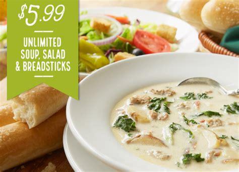 olive garden soup and salad olive garden 5 99 unlimited soup salad breadsticks