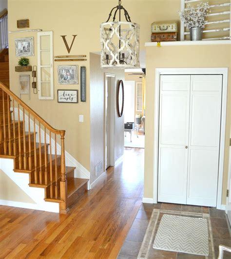 foyer chandelier updated entryway the prettiest chandelier Farmhouse