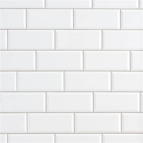 White Ceramic Tile by Bright White Beveled Ceramic Wall Tile 3 X 6