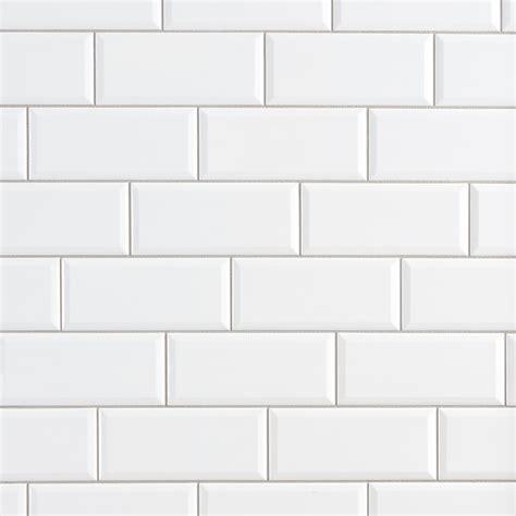 Bright White Ice Beveled Ceramic Wall Tile  3 X 6