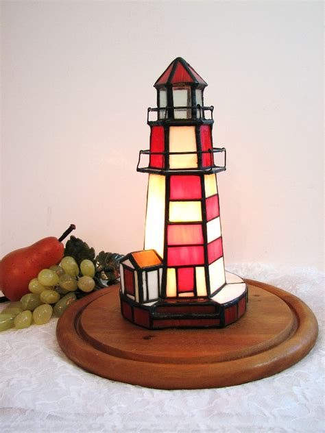 stained glass lighthouse l vintage stained glass lighthouse accent l nightlight