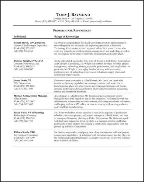 Writing References On A Resume by Personal Professional References Sle Registered