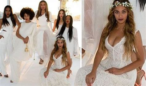 Bridesmaid Beyonce Wears Plunging Lace Dress To Mum's