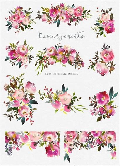 Clipart Floral Flowers Peach Watercolor Clip Border