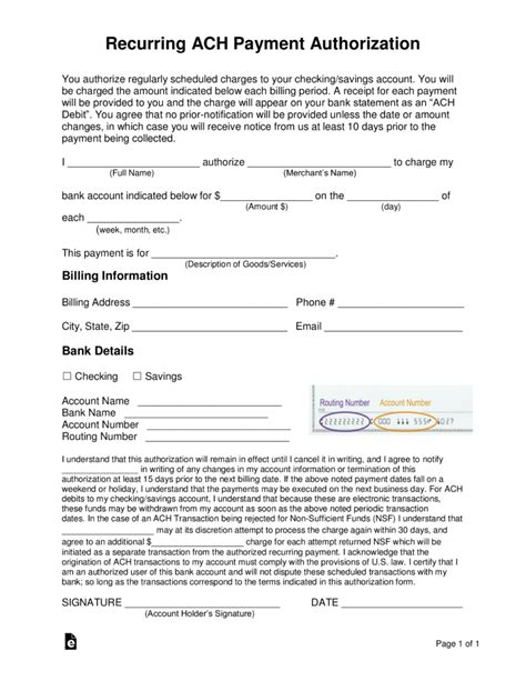 recurring ach payment authorization form word