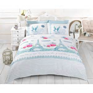shabby chic duvet cover eiffel tower bird bedding cotton rich bed set ebay