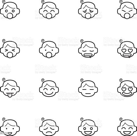 Adorable animal faces svg bunnycup svg design. Emoticon Of Baby Face Icons Stock Illustration - Download ...