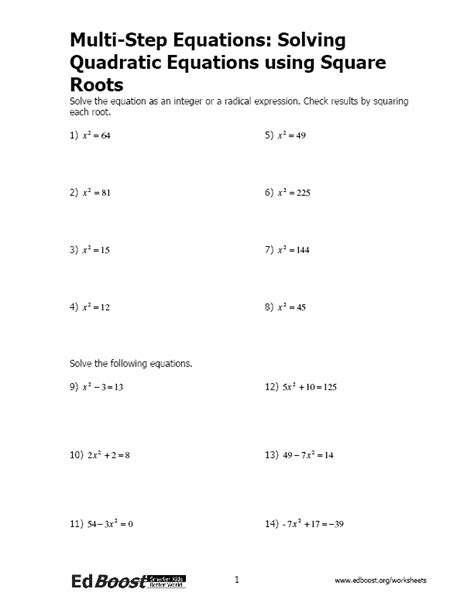 solving quadratic equations using square roots edboost
