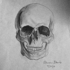 Human Skull Front View Pencil Drawing Style This