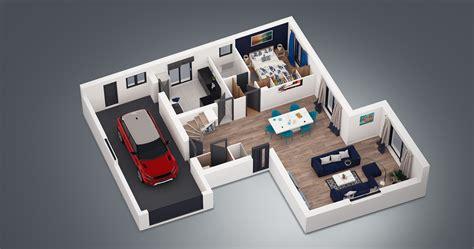plan de chambre 3d plan maison 4 chambres 130m2