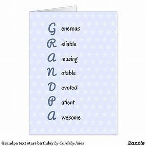 Grandpa text stars birthday card Cards, Card ideas and