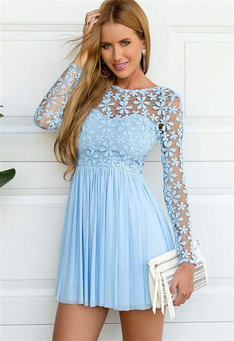 Cotton Dress Baby Blue light blue sleeve crochet tulle skater dress by xenia