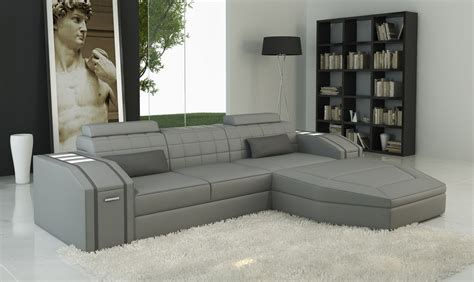 divani casa  modern grey bonded leather sectional sofa