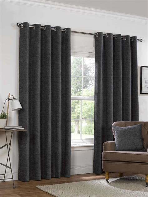 charcoal grey curtains plain chenille charcoal grey lined ring top eyelet