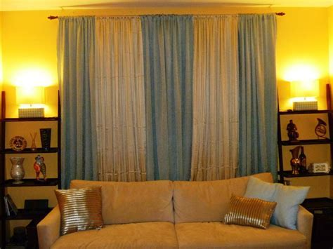 Withe And Blue Living Room Curtains Ideas : Nice Blue