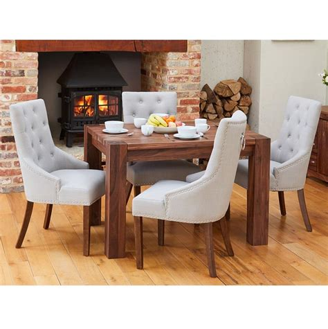 Maybe you would like to learn more about one of these? Walnut Small Dining Table with 4 Grey Accent Narrow Back ...