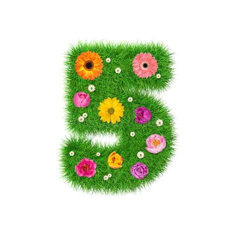 and numbers letter a made of grass stock number 5 made of grass and colorful flowers