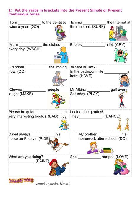 present progressive tense worksheets grade 6 kidz activities